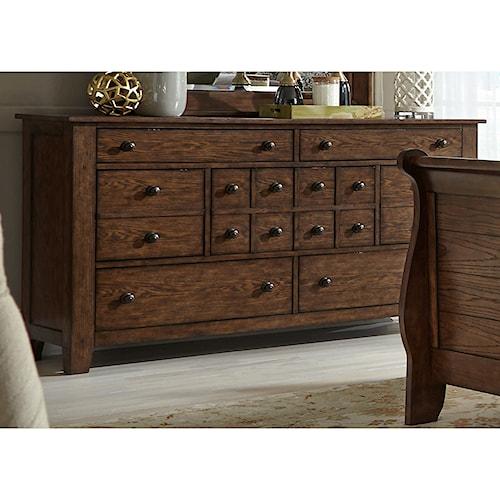 Liberty Furniture Grandpa's Cabin 7 Drawer Dresser with Tapered Block Feet