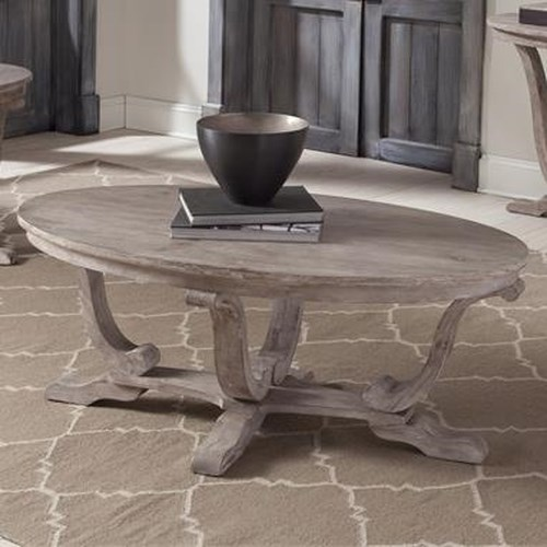 Liberty Furniture Greystone Mill Transitional Oval Cocktail Table