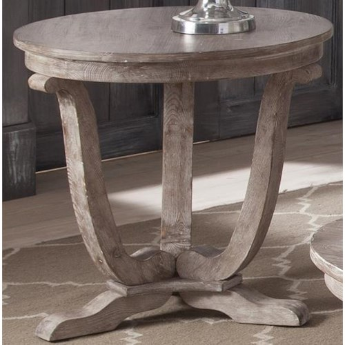 Liberty Furniture Greystone Mill Transitional Round End Table