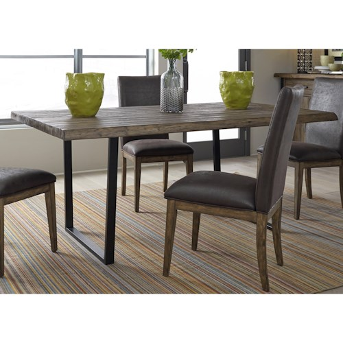 Liberty Furniture Haley Springs Rustic Wood Trestle Table With Live Edge And Metal Legs