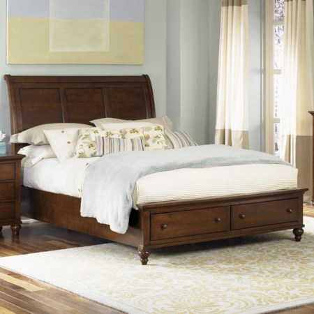 Queen Sleigh Bed with Storage Footboard