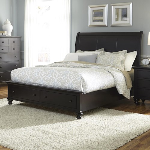 Liberty Furniture Hamilton III Transitonal Queen Sleigh Bed with 2 Drawer Storage Footboard