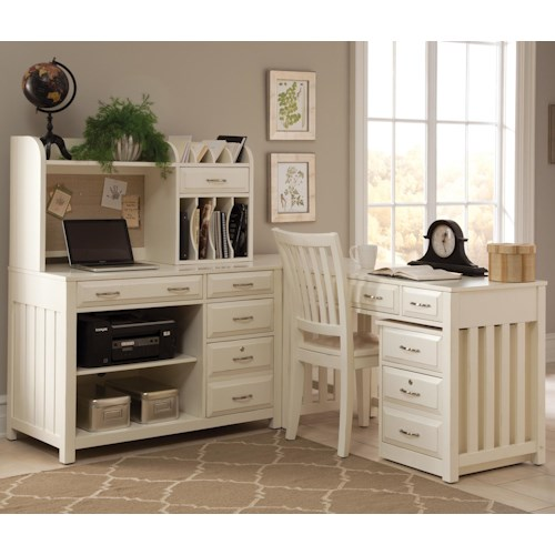 Liberty Furniture Hampton Bay - White 5 Piece L-Shaped Desk and File Cabinet Unit