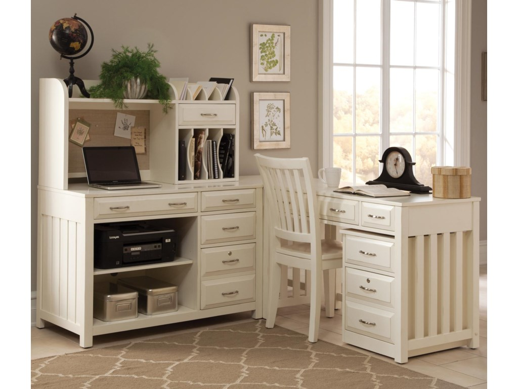 Liberty Furniture Hampton Bay - WhiteL-Shaped Desk with File Cabinet