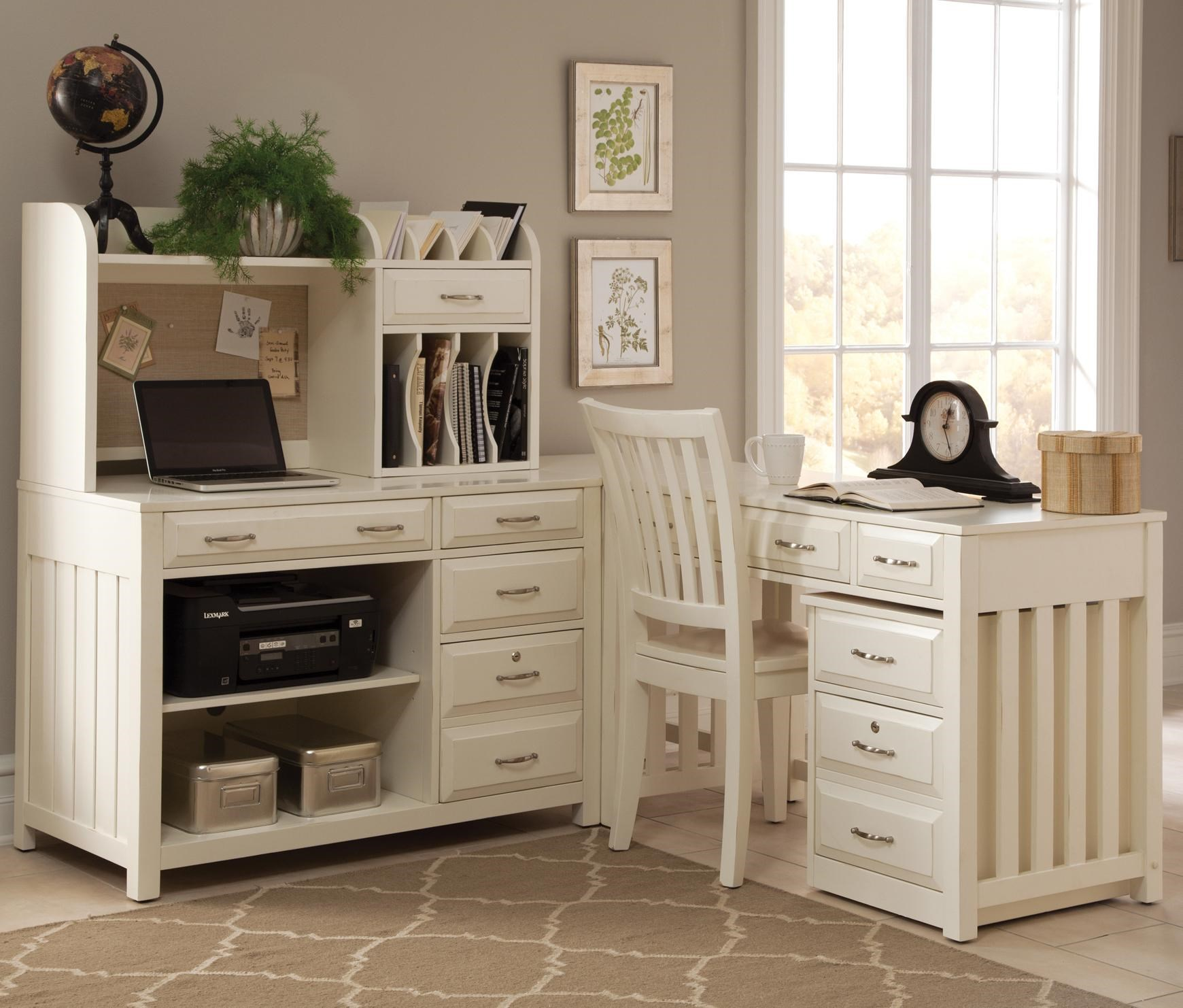 Ordinaire Liberty Furniture Hampton Bay   White 5 PC L Shaped Desk And File CHAIR