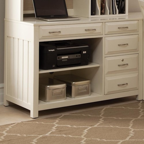 Liberty Furniture Hampton Bay - White Computer Credenza with Shelves and Drawers