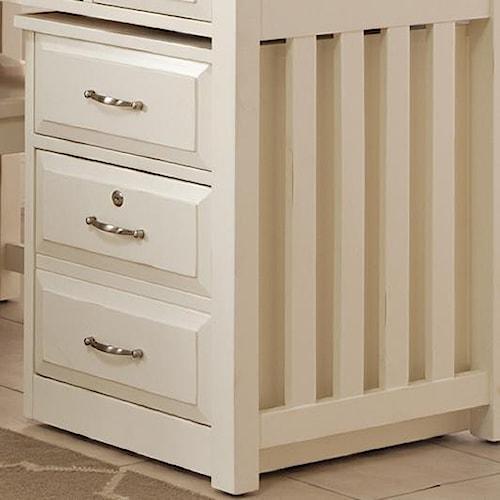 Liberty Furniture Hampton Bay - White Mobile File Cabinet with File Drawer Locks