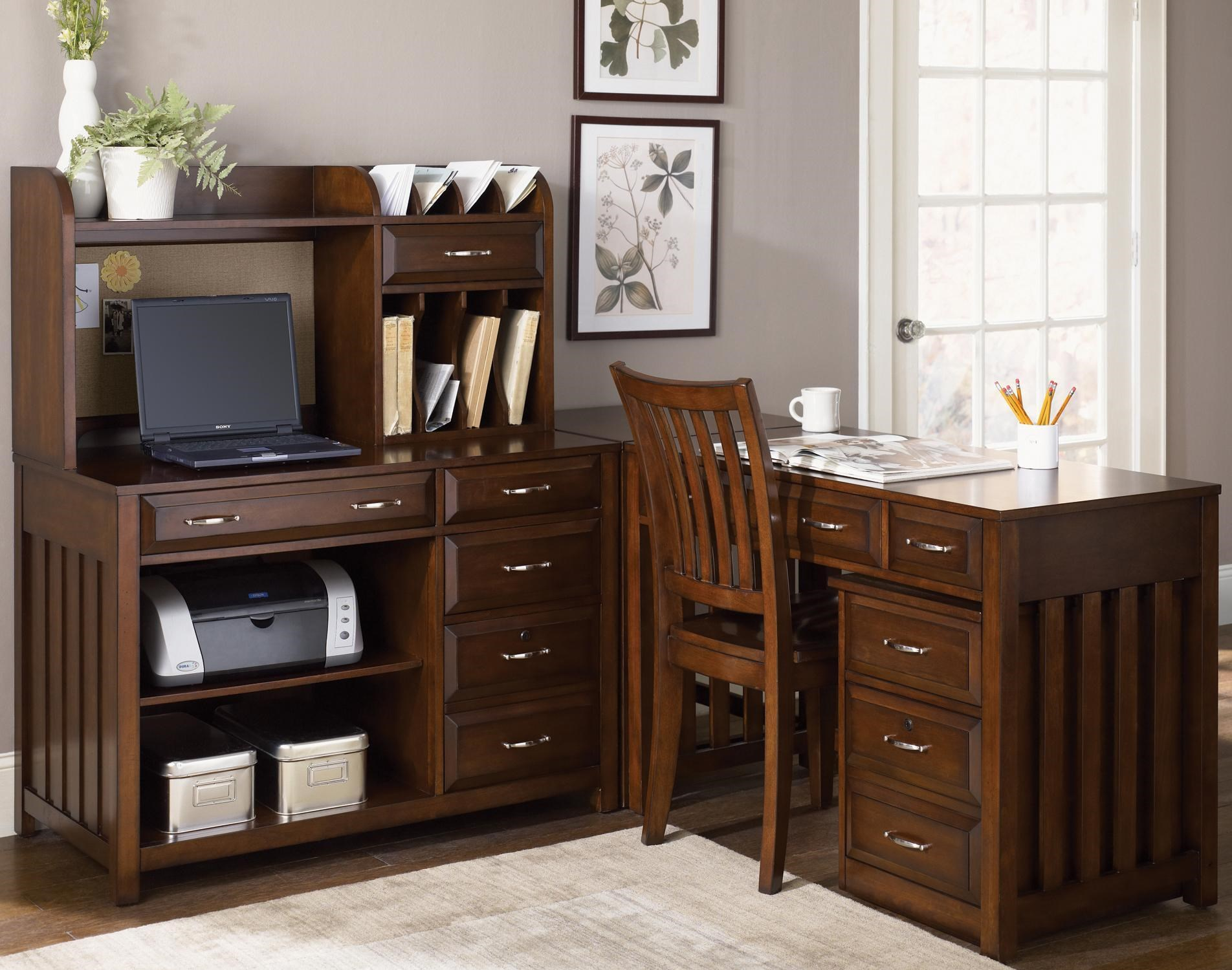 Hampton Bay 5 Piece L Shaped Desk And File Cabinet Unit By Liberty Furniture