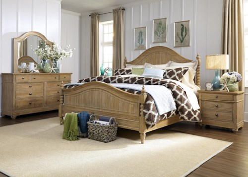 Liberty Furniture Harbor View Queen Poster Bedroom Group with Dresser, Mirror and Nightstand