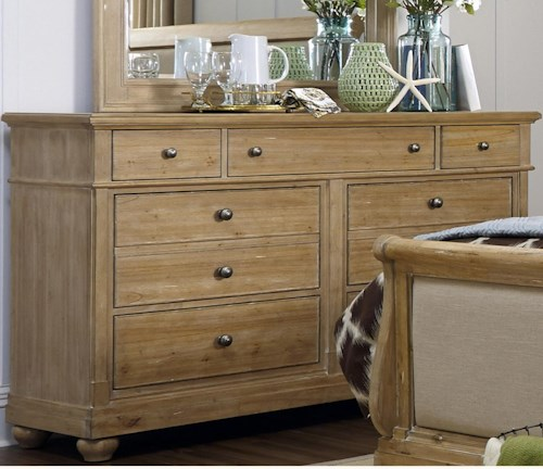 Liberty Furniture Harbor View Dresser with 7 Drawers and Plinth Base