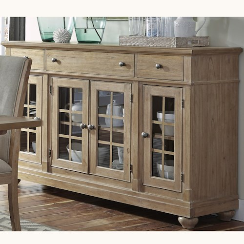 Liberty Furniture Harbor View Buffet with 3 Shelves and 4 Doors
