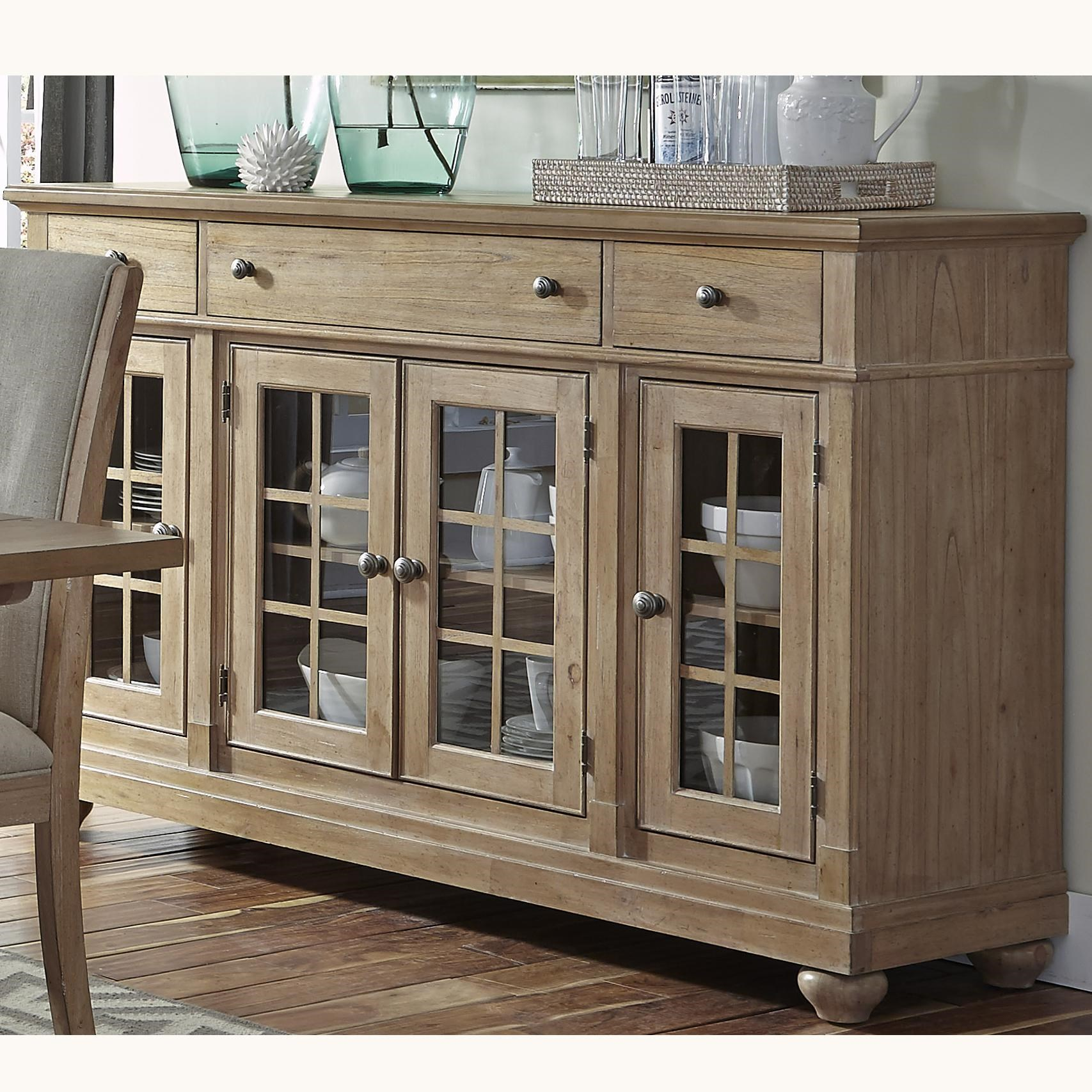 Captivating Liberty Furniture Harbor View Buffet With 3 Shelves And 4 Doors