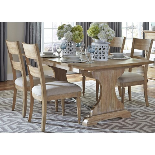 Liberty Furniture Harbor View Trestle Table and 4 Slat Back Chairs