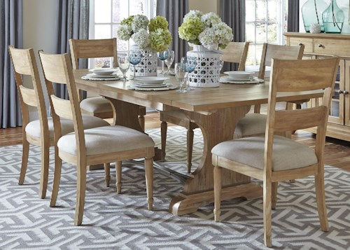 Liberty Furniture Harbor View Trestle Table and 6 Slat Back Chair Set