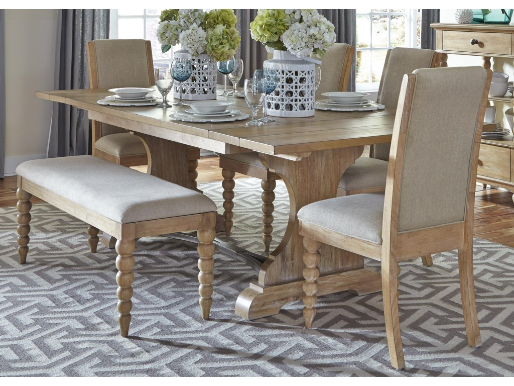 Liberty Furniture Harbor ViewTrestle Table and Side Chair and Bench Set