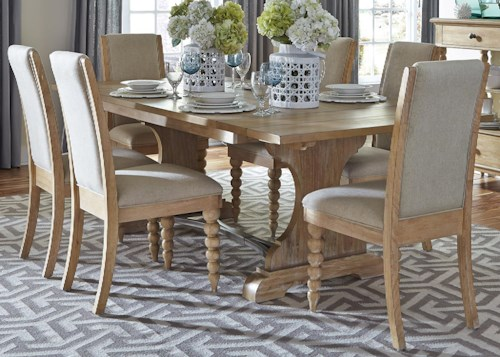 Liberty Furniture Harbor View Trestle Table with 6 Upholstered Side Chairs