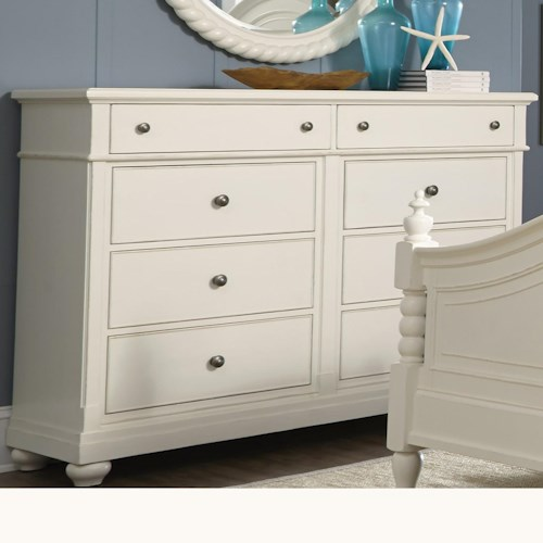 Liberty Furniture Harbor View Dresser with 8 Drawers and Bun Feet