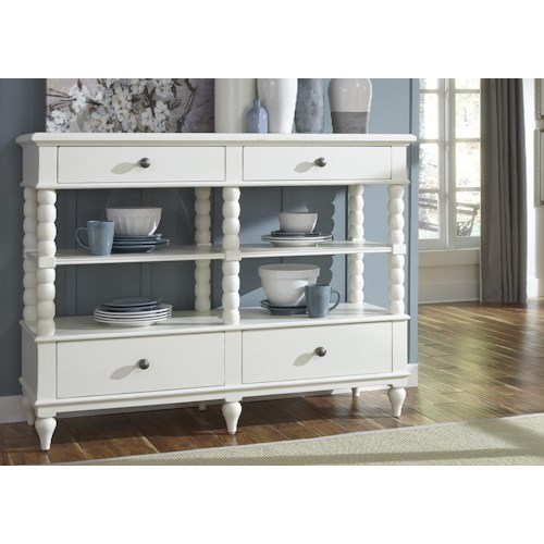 Liberty Furniture Harbor View Serving Table with 4 Drawers and 2 Shelves