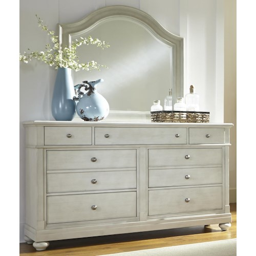 Liberty Furniture Harbor View Dresser with 7 Drawers and Arched Mirror