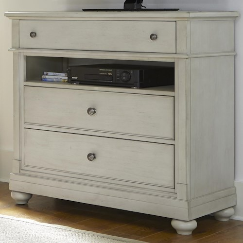 Liberty Furniture Harbor View Media Chest with 3 Drawers and Storage Compartment