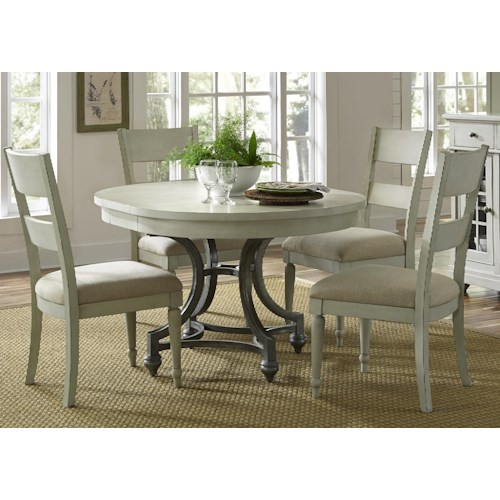 Liberty Furniture Harbor View Round Table and 4 Upholstered Chair Set