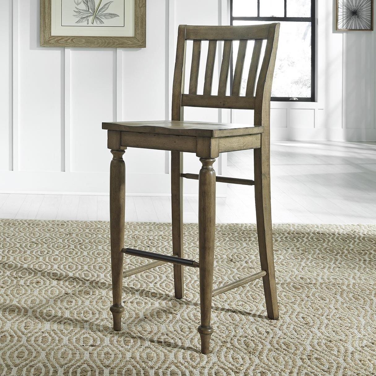 Liberty Furniture Harvest Home Relaxed Vintage Slat Back Bar Stool Royal Furniture Bar Stools