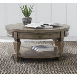 Libby Harvest Home Relaxed Vintage Round Cocktail Table Walker S Furniture Cocktail Coffee Tables