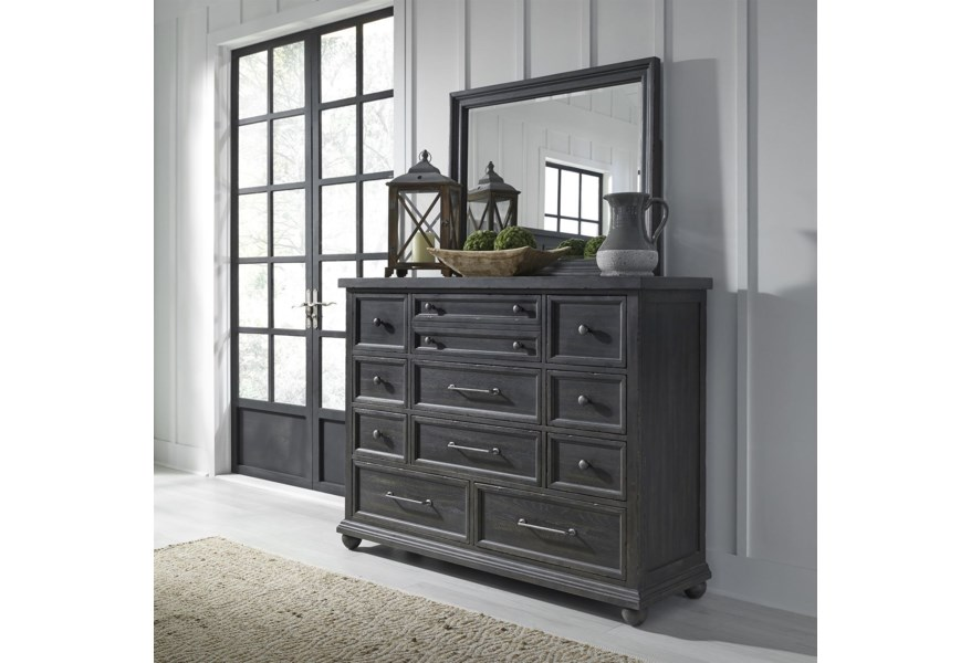 Harvest Home Relaxed Vintage 11 Drawer Dresser And Mirror By Liberty Furniture At Steger S Furniture