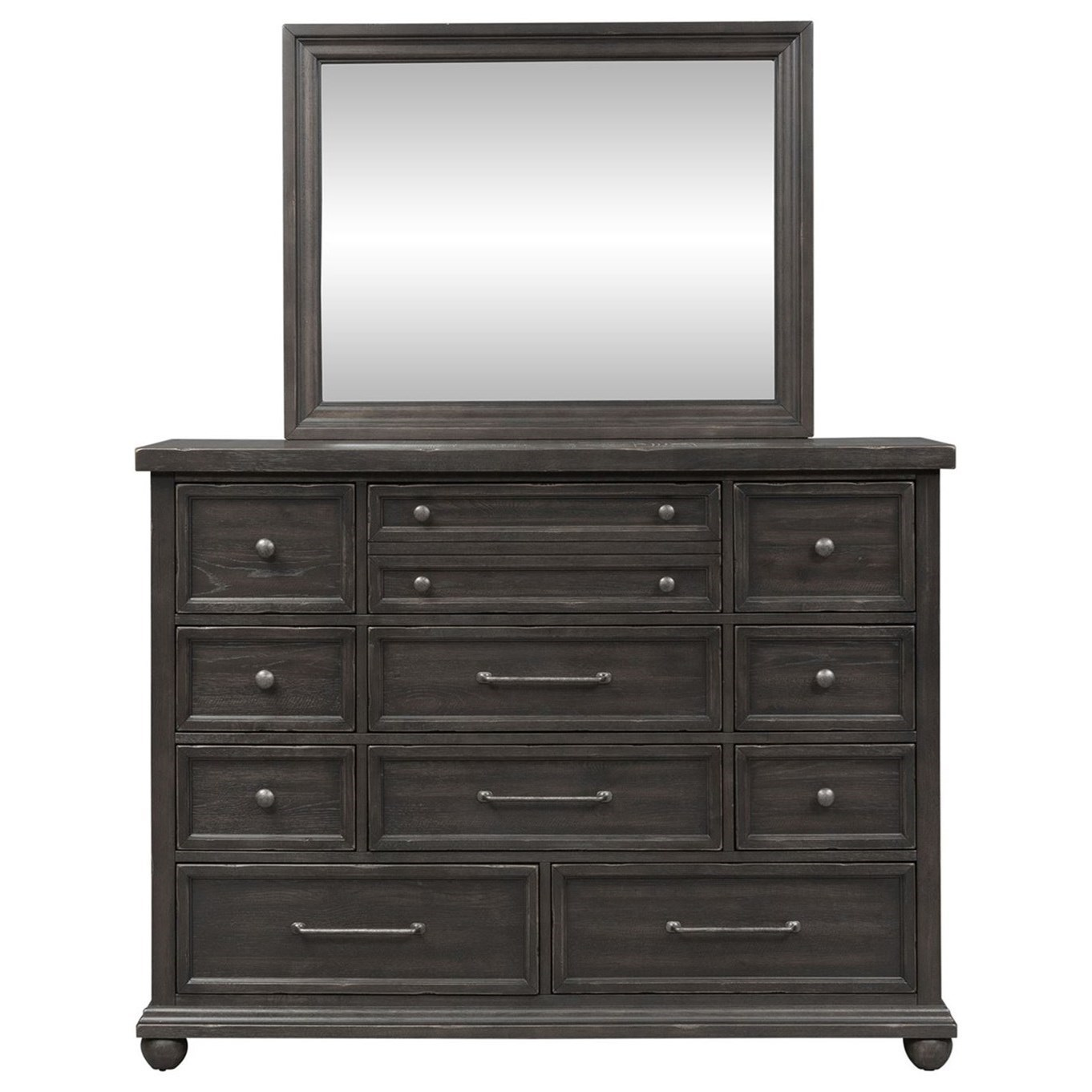 Relaxed Vintage 11 Drawer Dresser and Mirror