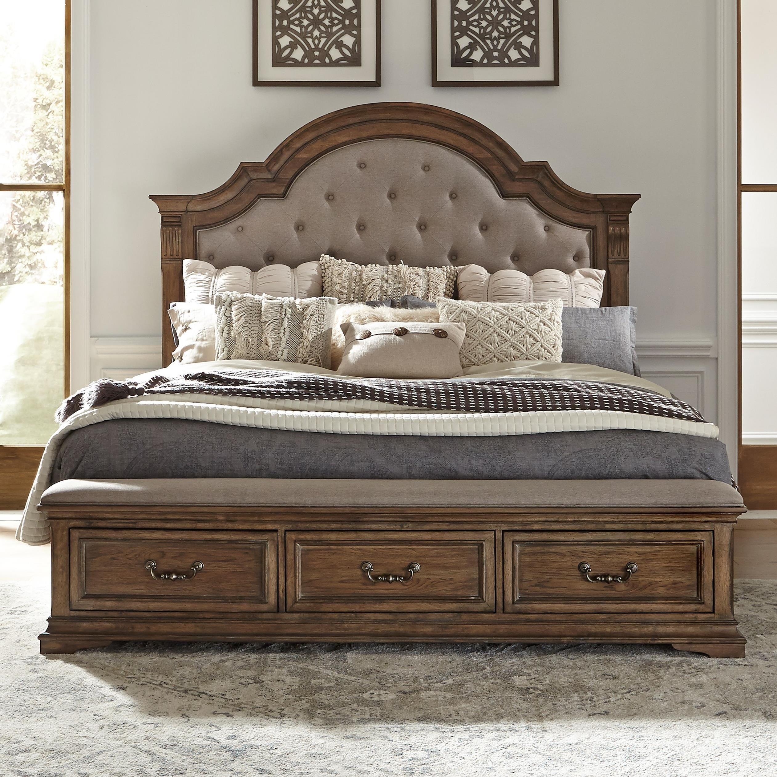 Traditional King Upholstered Storage Bed