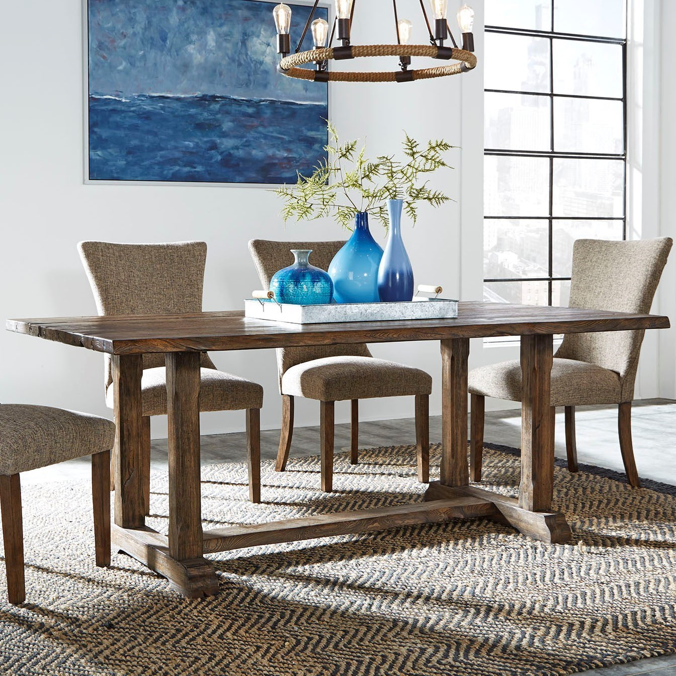 Liberty Furniture Havenbrook Casual Trestle Table With Live Edge   Novello  Home Furnishings   Dining Tables