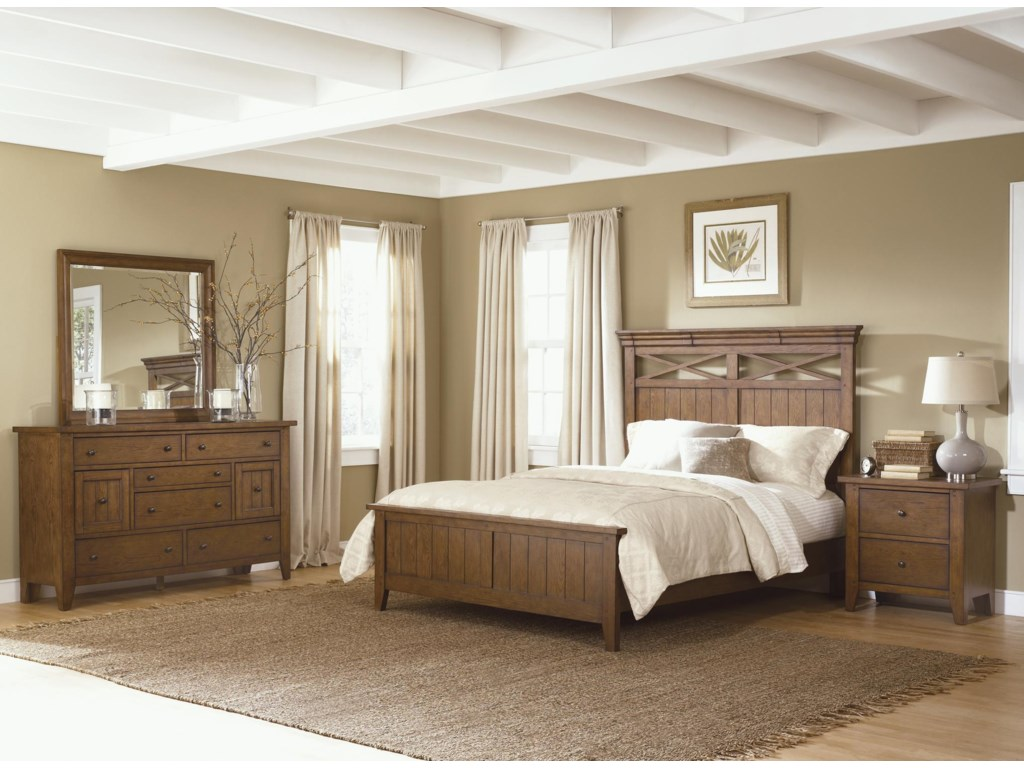 Shown as Complete Bed with Footboard and Rails along with Dresser, Mirror, and Nightstand