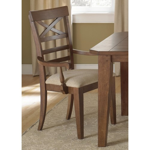 Liberty Furniture Hearthstone X-Back Dining Arm Chair with Upholstered Seat