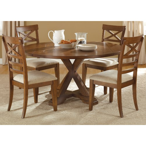 Liberty Furniture Bunker Hill Mission Style 5 Piece Pedestal Table Set