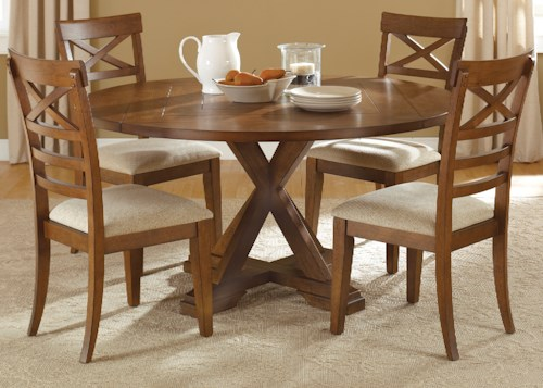 Liberty Furniture Hearthstone Mission Style 5 Piece Pedestal Table Set