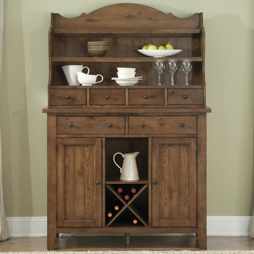 Liberty Furniture Hearthstone Country Style Server And Display Hutch