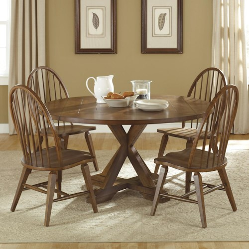 Liberty Furniture Hearthstone Five-Piece Round Top Pedestal Table and Spindle Back Chair Set