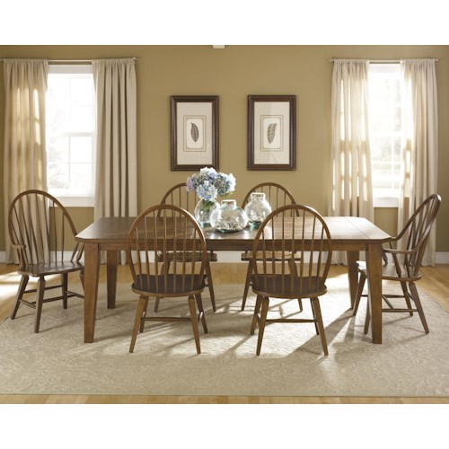 Liberty Furniture Bunker Hill Seven-Piece Rectangular Dining Table and Chair Set