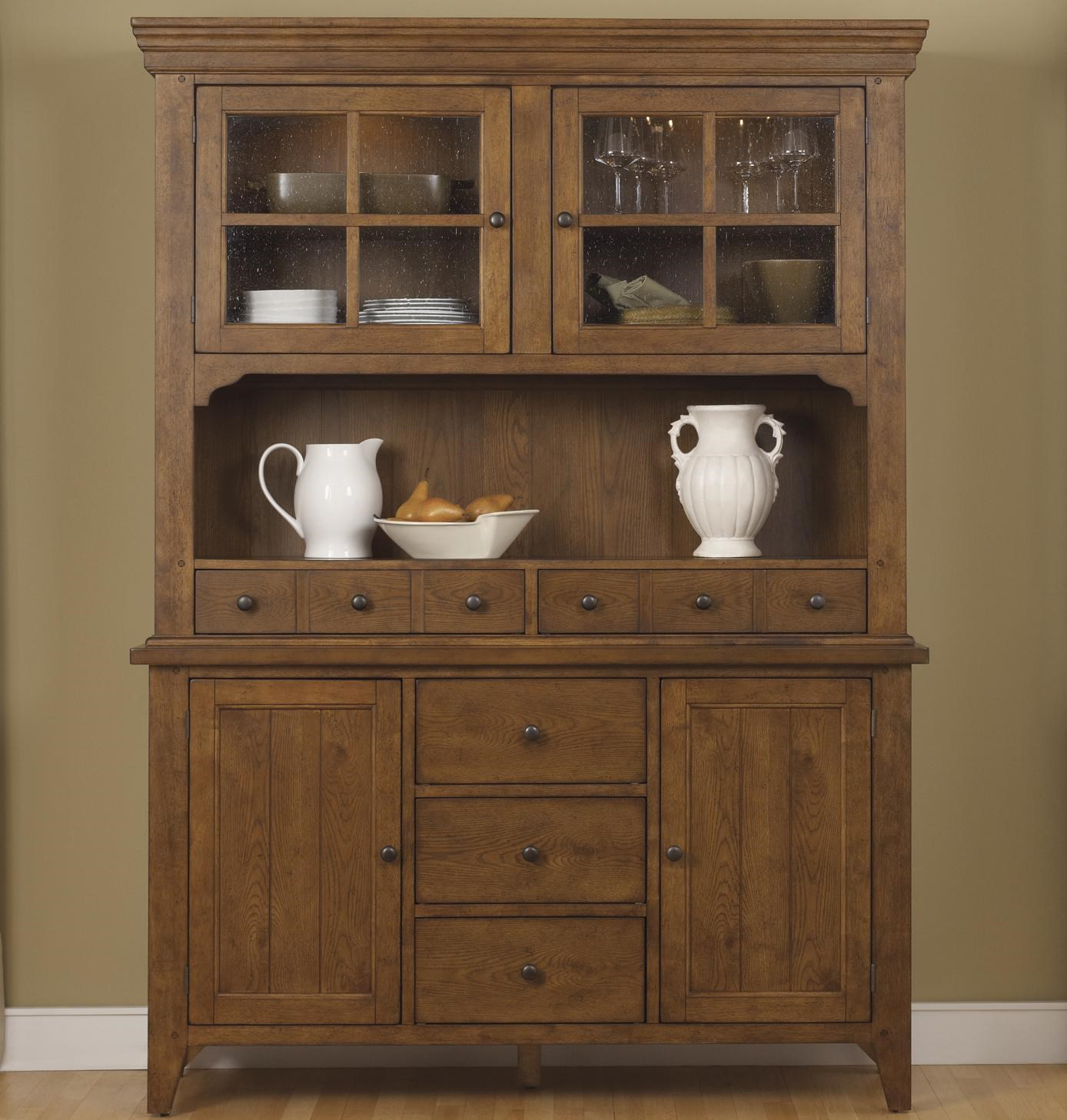 Liberty Furniture Hearthstone Mission Style Buffet With China Hutch Wayside Furniture China Cabinets