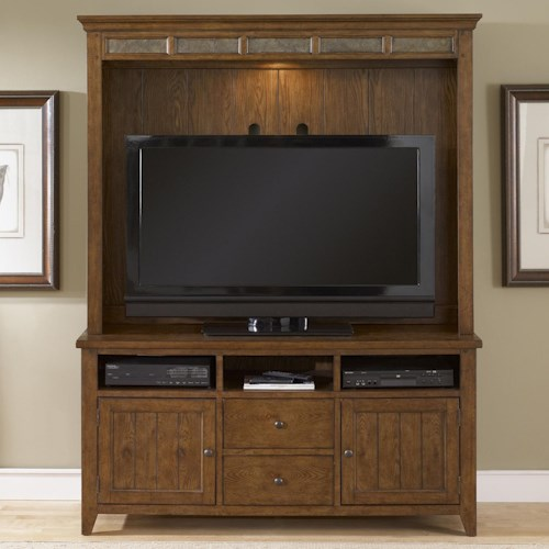 Liberty Furniture Bunker Hill TV Stand and Hutch Entertainment Center