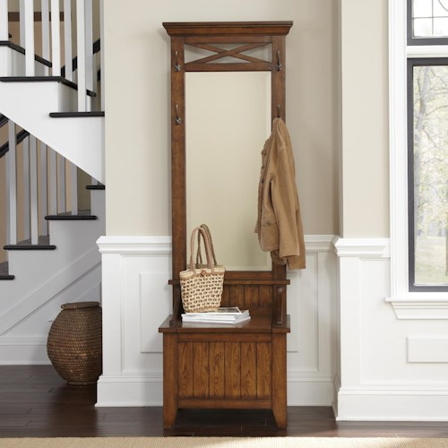 Liberty Furniture Hearthstone Entryway Hall Tree with Mirror and Bench