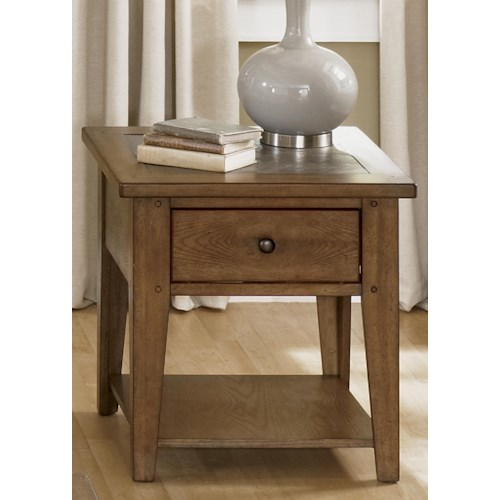 Liberty Furniture Bunker Hill Single Drawer End Table with Slate Top