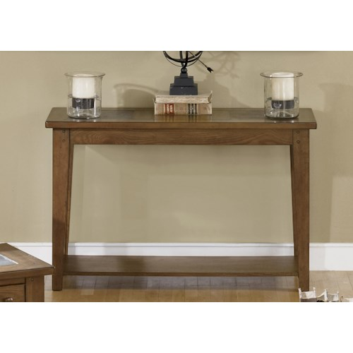 Liberty Furniture Bunker Hill Sofa Table with Slate Top