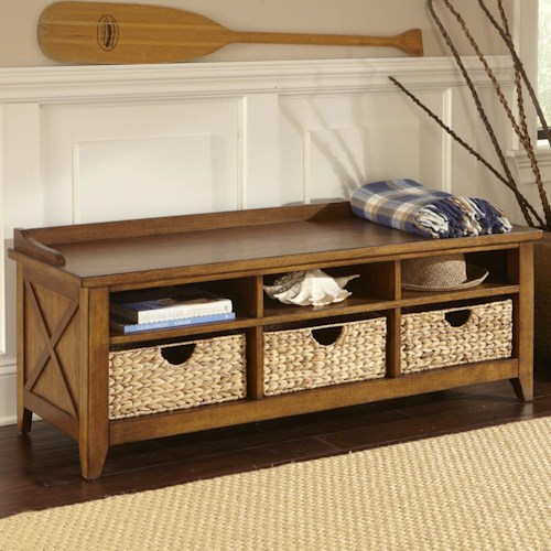 Liberty Furniture Bunker Hill Cubby Storage Entryway Bench