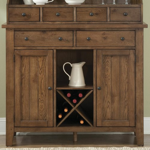 Liberty Furniture Bunker Hill Country Style Server with Wine Storage