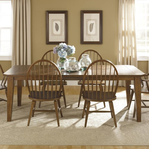 Liberty Furniture Bunker Hill Rectangular Leg Dining Table with 2 Extension Leaves