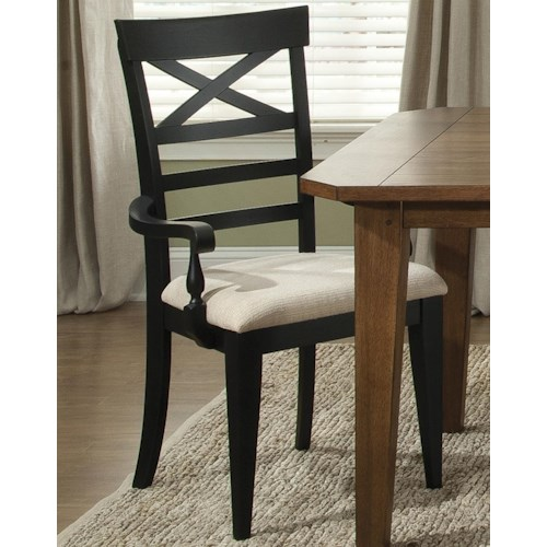 Liberty Furniture Bunker Hill X-Back Dining Arm Chair with Upholstered Seat