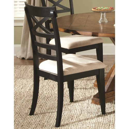 Liberty Furniture Hearthstone X-Back Dining Side Chair with Upholstered Seat