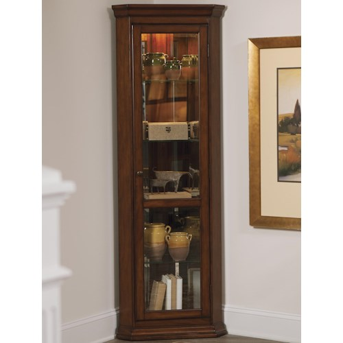 Liberty Furniture Hearthstone Five Shelf Corner Curio with Touch Lighting