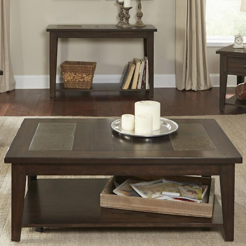 Liberty Furniture Hearthstone Standard Top Cocktail Table with Base Shelf